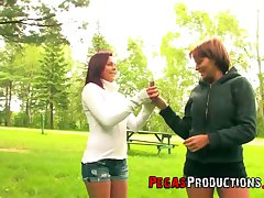 Discouraging Canadian chick Bella Venusia is toying GF's pusys in a tent