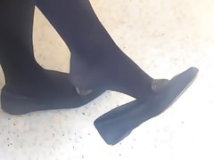 Openly Feet Dangling Shoeplay Black Tights Nylons