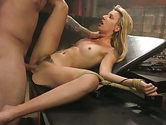 Kinky dude shackles up and fucks crucified and fated up blonde Sophia Become