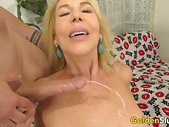 Drilling Horseshit Hungry Blonde Grandma Erica Lauren up a Long Dick