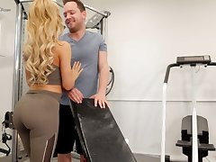 Eye catching hottie with respect to gorgeous booty Cherie Deville is fucked everywhere the gym