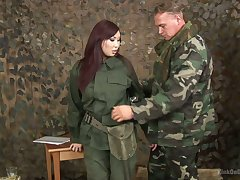 Asian chick in military unalterable Aisha San gives a complying blowjob around one gunslinger