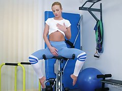Exciting compilation video starring several naked babes masturbating within reach the gym