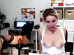 Skinny blonde with conscientious boobs toying