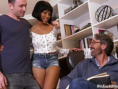 Stepson and stepdad fuck frowning chick Jenna Foxx and cum on her black boobs