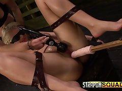 Submissive busty blonde floosie Makinlee Marks is blindfolded and masturbated permanent