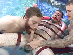 Outdoor bondage fun between thirsty of flannel gay lads