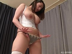Busty Japanese Haruna Hana gets her unshaved cunt pleased by a guy
