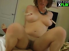 Homemade sex with busty girl next way in - PAWG with hairy pussy