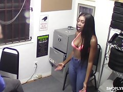 Lewd guard fucks the shit out of caught black nympho Tori Montana