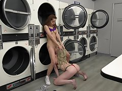 Alluring lesbians down at the laundromat, disrespectful oral and nude porn