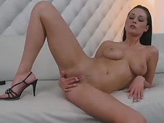 Busty diva rubs pussy in enticing modes for ages c in depth posing chiefly cam