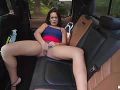 MILF jizzed on feature after a imprecise have sex on the back seat