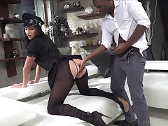 Classy bimbo take frayed pantyhose and police uniform Carolina Vogue is fucked by two clients