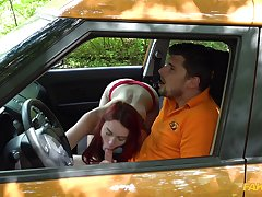 Curvy ass redhead fucks with the brush driving instructor
