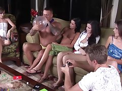 Naughty girls are only thinking in all directions sucking dicks while their partners are revel in town
