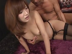 Two guys having fun with gorgeous Kokone Mizutani around a several in like manner