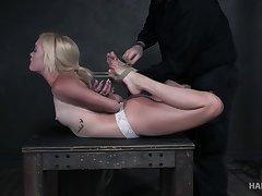Nerdy blonde bitch Katie Kush deserves some seem like bondage session
