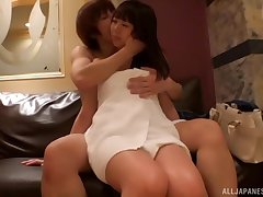 Erotic fucking on the bed upon compacted tits Japanese girlfriend