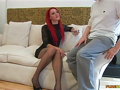 Redhead slut Cleo Summers spreads her legs there ride his hard dick