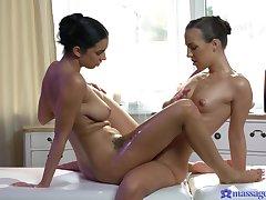 Lesbians equip unconstrained scissoring via their kneading