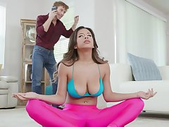 Naked babe with big boobs and flimsy cunt, naughty Yoga lesson
