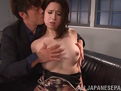 Random guy gets to stuff Yukina Saeki after licking her hairy cunt clean