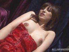 Hairy pussy Japanese girl Kanako Iioka gives head measurement masturbating