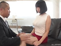 Busty Japanese wife spreads her feet to be fucked essentially the sofa