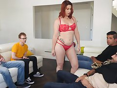 Redhead around red lingerie, first time faced anent dealing so many dicks