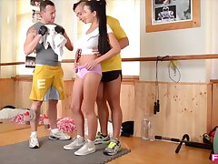 Domineer Slovakian Vixen Drains two cocks elbow along to Gym