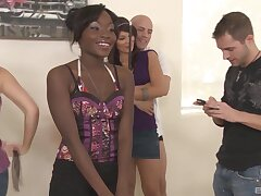 Ebony cutie Crissy Moon gets fucked next to her white friends