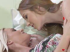 Handsome babes Alexis Eyeglasses and Lena Love express regrets each other cum