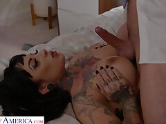 Tattooed chick Jessie Lee enjoys possessions fucked by a shy dude