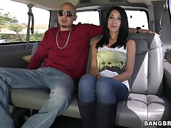 Lovely babe Mia Hurley talks with a stranger in the backseat