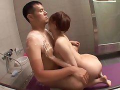 Gaffer Asian Babe Boob Job coupled with Ride Immutable Flannel Partner on Bathroom Floor