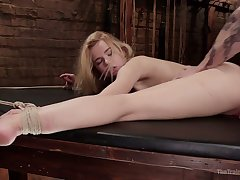 Pallid emotional flaxen head with juicy exasperation Alina West is poked from behind