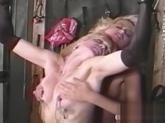 Two blondes bringing off BDSM games with regard to vintage porn