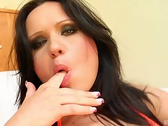 After she masturbates Emma Diamond is ready for her friend's penis